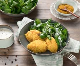 Karotten-Curry-Hirse mit Vogerlsalat und Buttermilch-Feta-Dressing