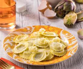 Ravioli Stuffed with Artichokes and Pancetta
