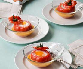 Huevo poché en tomate