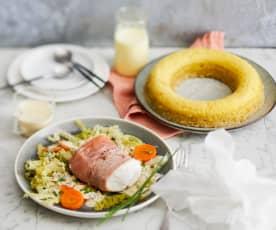Papillote de poisson au jambon cru, petits légumes et gâteau vapeur à la vanille