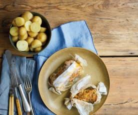 Papelotes de bacalhau e legumes com batatinhas