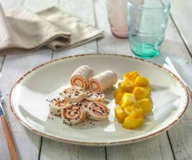 Rollè di tacchino e carote con patate