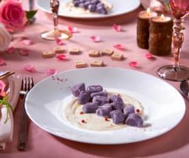 Gnocchi di patate viola con salsa al pepe rosa (per 2 persone)