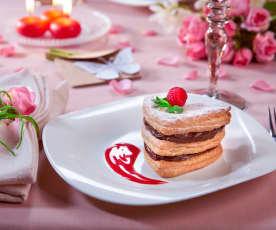 Millefoglie al cioccolato con coulis ai lamponi (per 2 persone)
