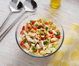 Salada de grão com vinagreta de pimentos