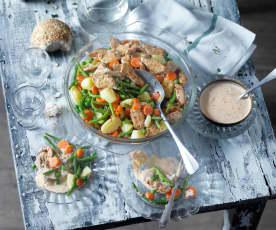 Emincé de veau mariné aux petits légumes