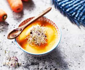 Soupe de carotte au tofu soyeux et graines germées