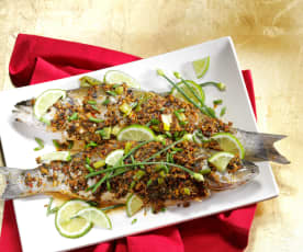 Ginger Garlic Steamed Whole Fish