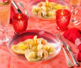 Cuori di arancia ripieni di gamberoni