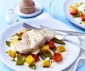 Seelachs mit Dijon-Senfsauce und Currycroûtons