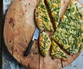 Piza de feijão-verde e pesto