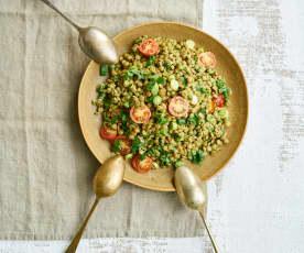Salada de lentilhas com vinagrete de coco