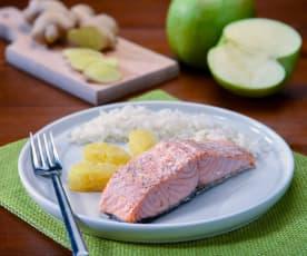 Filetto di salmone con purea di mele