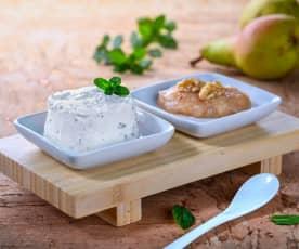 Mousse di formaggio di capra e menta con composta di pere