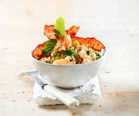 Reissalat mit Melone und Speck