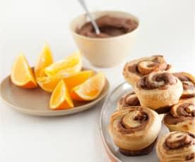 Caracóis de laranja e chocolate