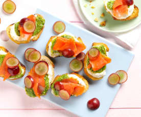 Smoked Salmon and Watercress Pesto Crostini