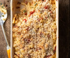 Baked Macaroni Cheese with Chorizo and Peppers