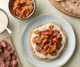 Beef and White Bean Purée on Flatbread