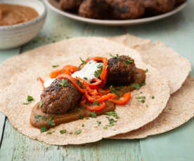 Cevapcici with Ajvar (Balkan sausage with Aubergine and Pepper Dip)