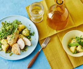 Curry-Hähnchen mit lauwarmem Kartoffelsalat