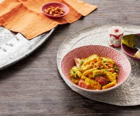 Goldene Pasta mit Ingwer und Kurkuma