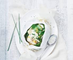 Dorsz w papilotach z sosem z kopru włoskiego i z zielonym groszkiem