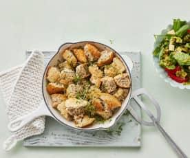 Buchweizen-Schmarren mit Tomatensalat