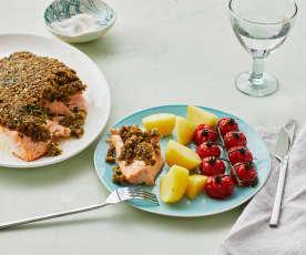 Fisch mit Olivenbröselkruste