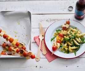 Tomaten-Halloumi-Spiessli mit Pasta-Salat