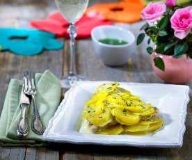 Orata in crosta di patate con emulsione alle erbe