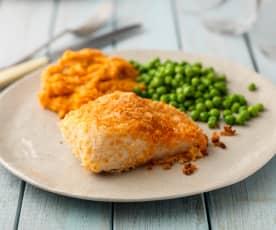 Baked Parmesan Fish with Sweet Potato Mash