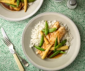 Honey and Soy Cod with Rice and Vegetables