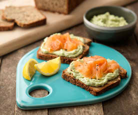 Seeded Breakfast Bread with Avocado Ricotta Spread and Smoked Salmon