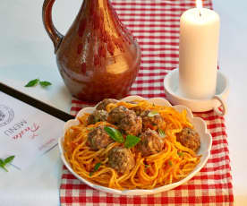 Spaghetti aux boulettes de viande... sous un ciel d'Italie