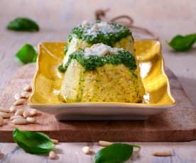 Tortino di zucchine con pesto di basilico e limone