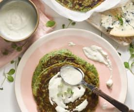 Špenátové lívance s přelivem z gorgonzoly