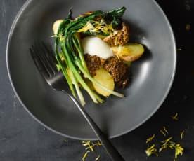 Grilované kačenky, vejce, omáčka z medvědího česneku, nové brambory