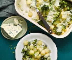 Zapečené gnocchi s brokolicí a sýrem s modrou plísní