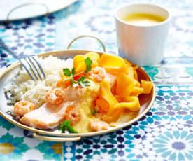 Saumon vapeur sauce aux crevettes