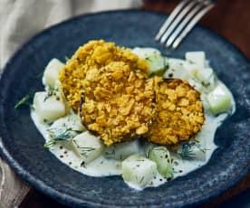 Knusprige Auberginen auf Creme-Kohlrabi