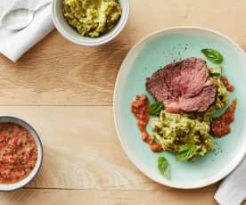 Roastbeef mit Brokkoli-Kartoffel-Püree