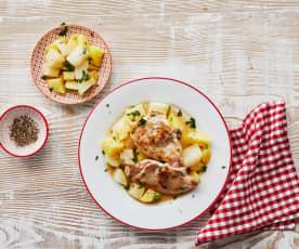 Schweine-Minutenschnitzel mit Kartoffel-Kohlrabi-Gemüse