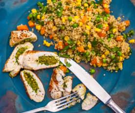 Krůtí roláda s olivami a zeleninová quinoa