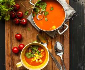 Mexická rajčatová polévka s kuřetem