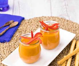 Vellutata fredda peperone, melanzana e curry