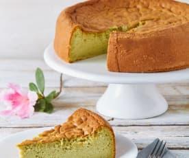 Cheesecake esponjoso de matcha