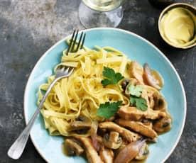Veau aux champignons, moutarde et tagliatelle