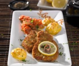 Wiener Schnitzel mit Sahnemöhrchen und Herzoginkartoffeln