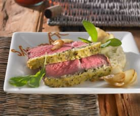 Ochsenkoteletts mit Zwiebel-Senf-Kruste